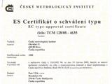 ES certifikát o schválení typu